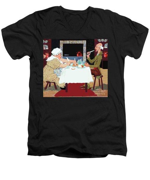 Vintage Jack Sprat Mother Goose Nursery Rhyme Men's V-Neck T-Shirt