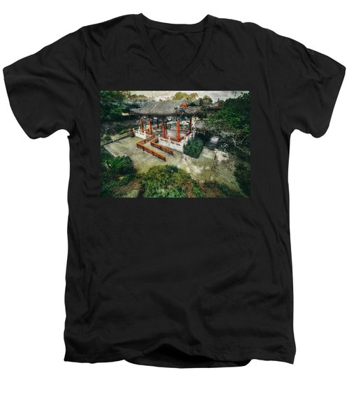 Men's V-Neck T-Shirt featuring the photograph Jade Garden by Wayne Sherriff