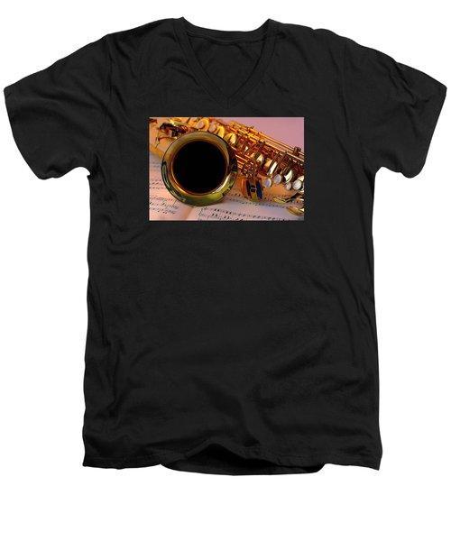 Jazz Saxaphone Men's V-Neck T-Shirt