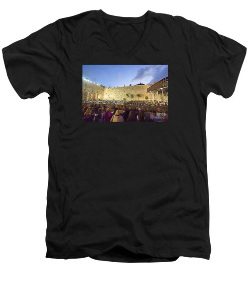 Jewish Sunrise Prayers At The Western Wall, Israel 8 Men's V-Neck T-Shirt