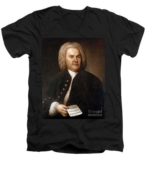 Johann Sebastian Bach, German Baroque Men's V-Neck T-Shirt