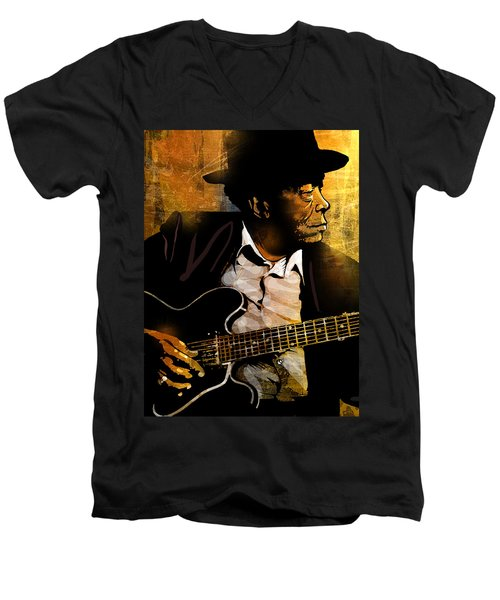 John Lee Hooker Men's V-Neck T-Shirt
