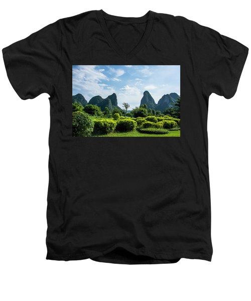 Karst Mountains Scenery Men's V-Neck T-Shirt