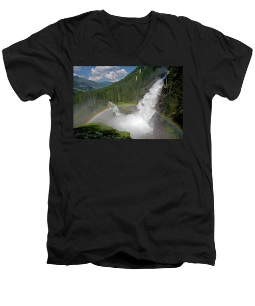Krimml Waterfall And Rainbow Men's V-Neck T-Shirt