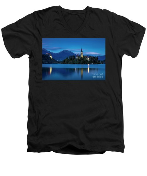 Men's V-Neck T-Shirt featuring the photograph Lake Bled Twilight by Brian Jannsen