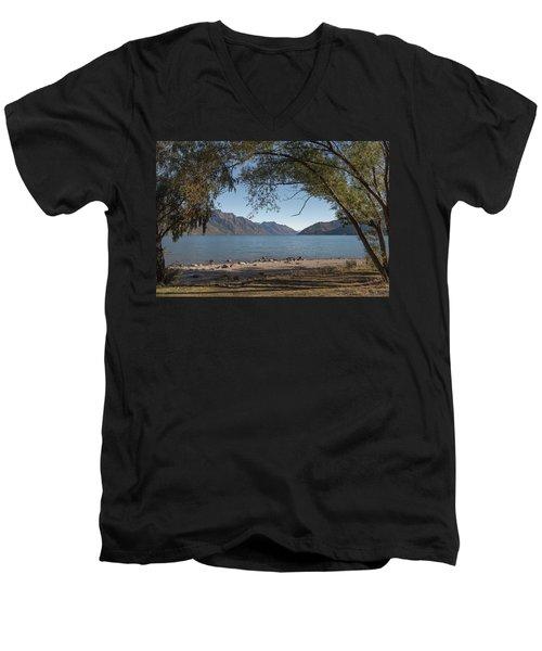 Men's V-Neck T-Shirt featuring the photograph Lake Wakatipu Shore Early Morning by Gary Eason