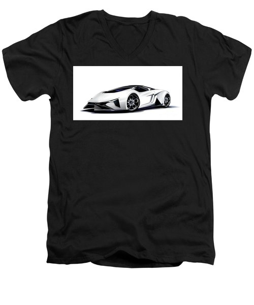 Men's V-Neck T-Shirt featuring the digital art Lamborghini by Brian Gibbs
