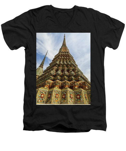 Large Colorful Stupa At Wat Pho Temple Men's V-Neck T-Shirt