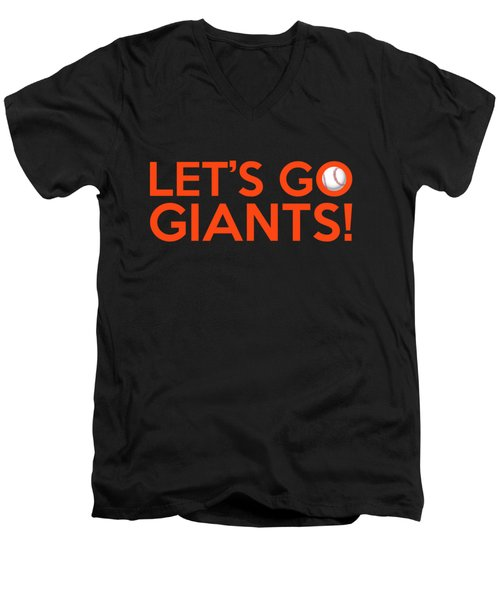 Let's Go Giants Men's V-Neck T-Shirt by Florian Rodarte