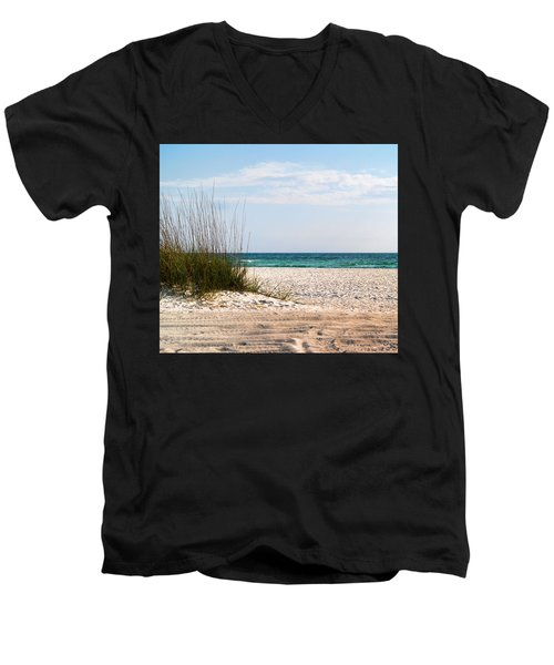 Men's V-Neck T-Shirt featuring the photograph Lido Beach by Athala Carole Bruckner