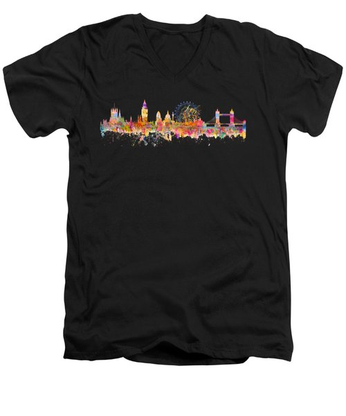 London Skyline Watercolor Men's V-Neck T-Shirt