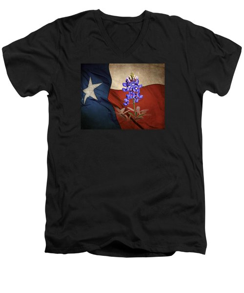Lone Star Bluebonnet Men's V-Neck T-Shirt by David and Carol Kelly