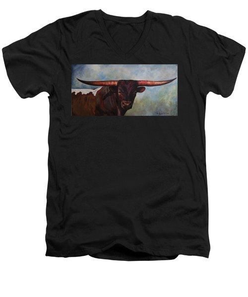 Longhorned Texan Men's V-Neck T-Shirt