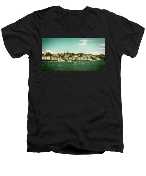 Men's V-Neck T-Shirt featuring the photograph Lucerne Panorama by Wolfgang Vogt