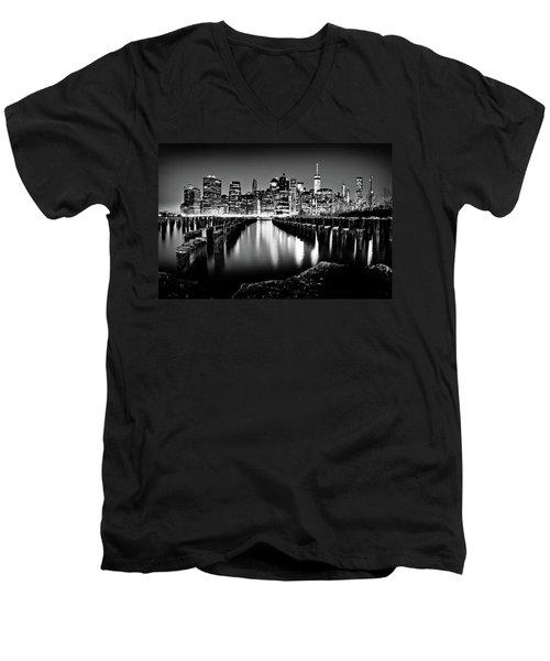 Manhattan Skyline At Night Men's V-Neck T-Shirt by Az Jackson