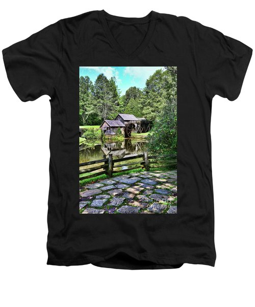 Men's V-Neck T-Shirt featuring the photograph Marby Mill Pathway by Paul Ward