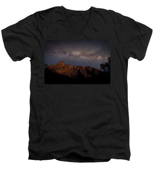 Milky Way Galaxy Over Zion Canyon Men's V-Neck T-Shirt
