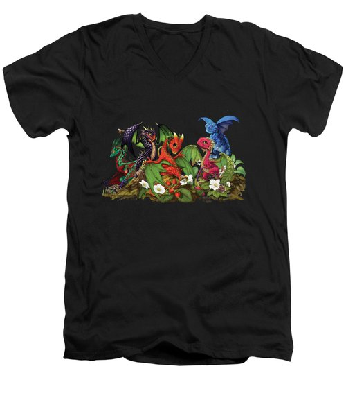 Mixed Berries Dragons T-shirt Men's V-Neck T-Shirt
