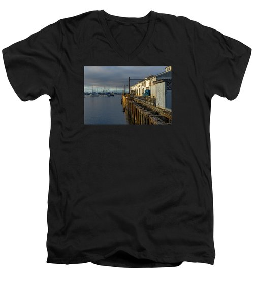 Monterey Commercial Wharf Men's V-Neck T-Shirt by Derek Dean