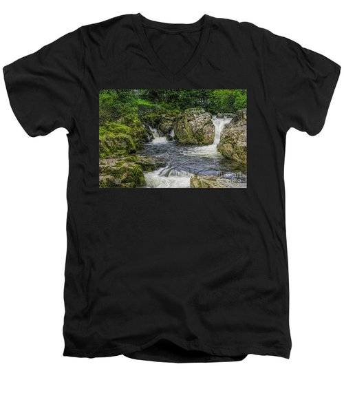 Mountain Waterfall Men's V-Neck T-Shirt by Ian Mitchell