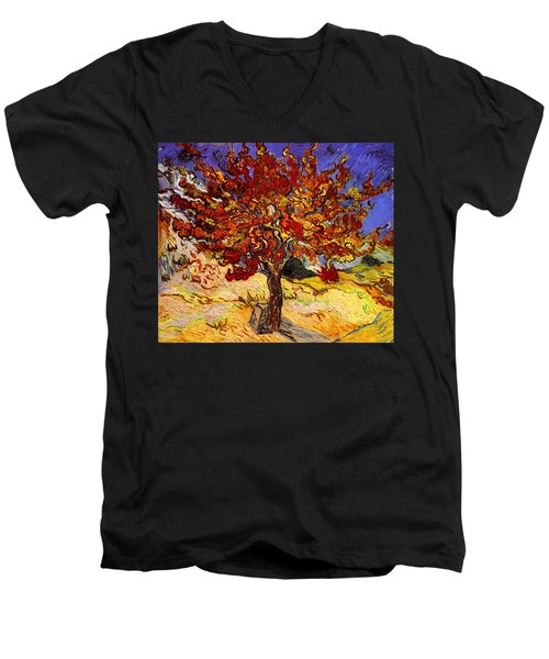 Men's V-Neck T-Shirt featuring the painting Mulberry Tree by Van Gogh