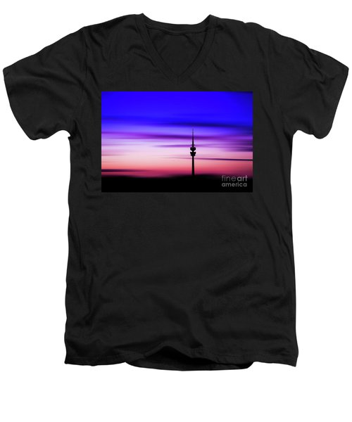 Men's V-Neck T-Shirt featuring the photograph Munich - Olympiaturm At Sunset by Hannes Cmarits