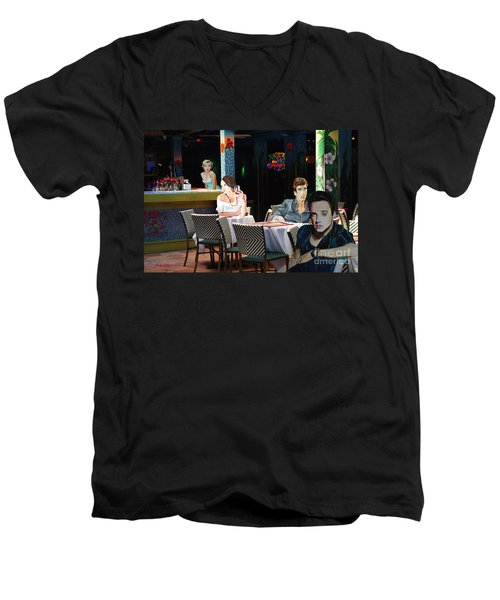 Men's V-Neck T-Shirt featuring the painting Starry  Night by Judy Kay