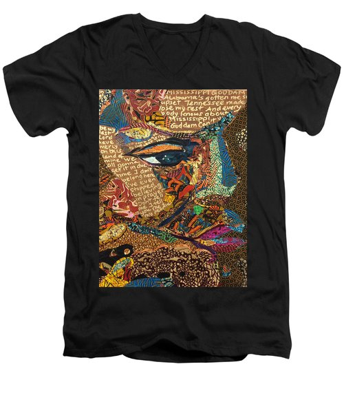 Men's V-Neck T-Shirt featuring the tapestry - textile Nina Simone Fragmented- Mississippi Goddamn by Apanaki Temitayo M