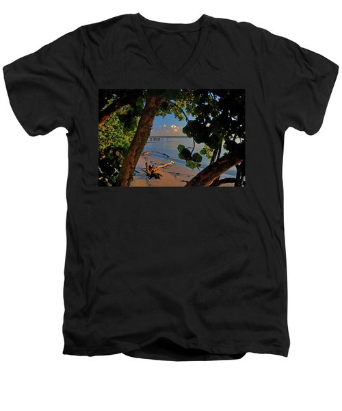 Men's V-Neck T-Shirt featuring the photograph 1- North Palm Beach by Joseph Keane