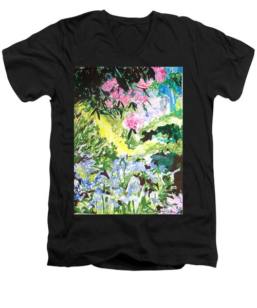 Men's V-Neck T-Shirt featuring the painting Northern Glen by Esther Newman-Cohen