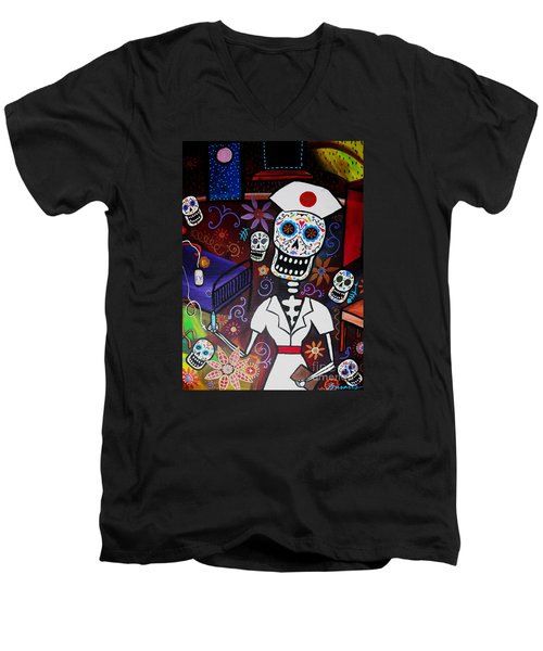 Nurse Dia De Los Muertos  Men's V-Neck T-Shirt by Pristine Cartera Turkus