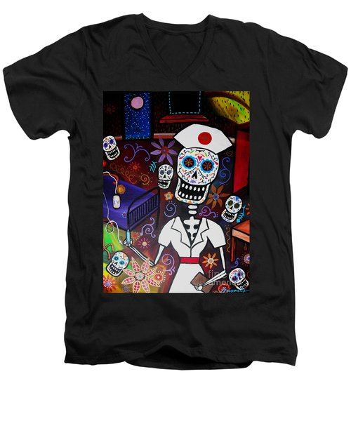 Nurse Dia De Los Muertos  Men's V-Neck T-Shirt