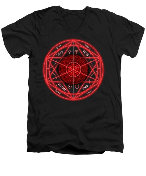 Occult Magick Symbol On Red By Pierre Blanchard Men's V-Neck T-Shirt by Pierre Blanchard