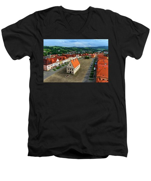 Old Town Square In Bardejov, Slovakia Men's V-Neck T-Shirt by Elenarts - Elena Duvernay photo