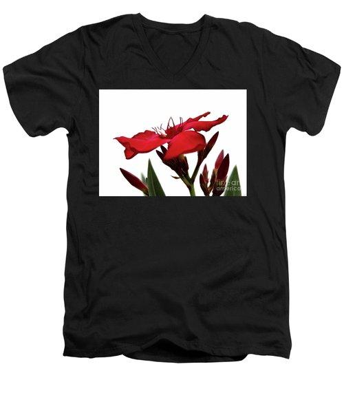 Oleander Blood-red Velvet 3 Men's V-Neck T-Shirt