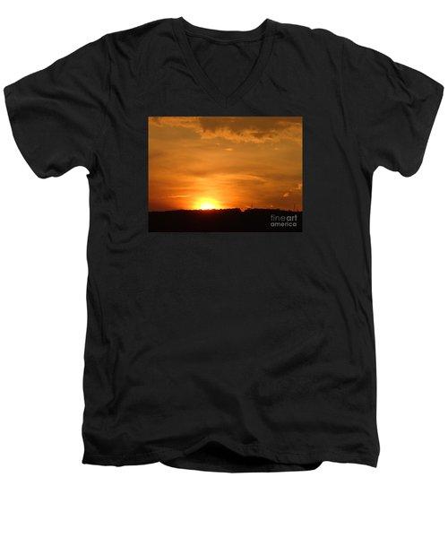 Men's V-Neck T-Shirt featuring the photograph Orange Sunset  II by Christina Verdgeline