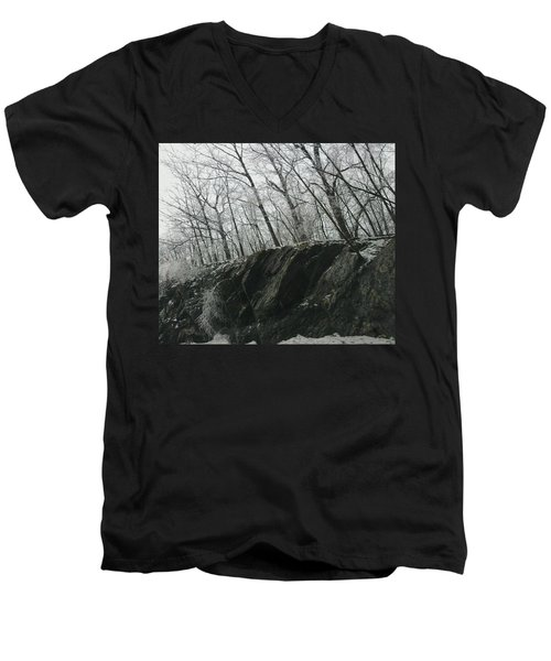Men's V-Neck T-Shirt featuring the photograph Out Of The Rocks by Ellen Levinson