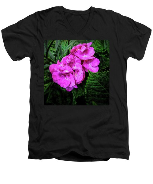 Painted Hydrangea Men's V-Neck T-Shirt
