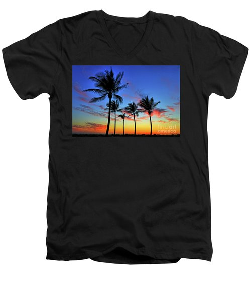Men's V-Neck T-Shirt featuring the photograph Palm Tree Skies by Scott Mahon