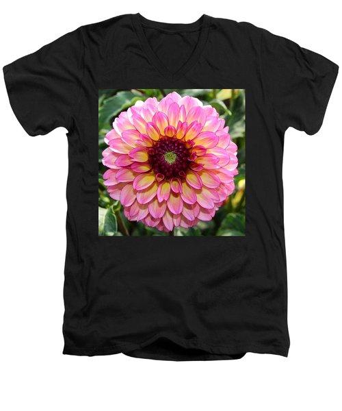 Pink Dahlia Men's V-Neck T-Shirt