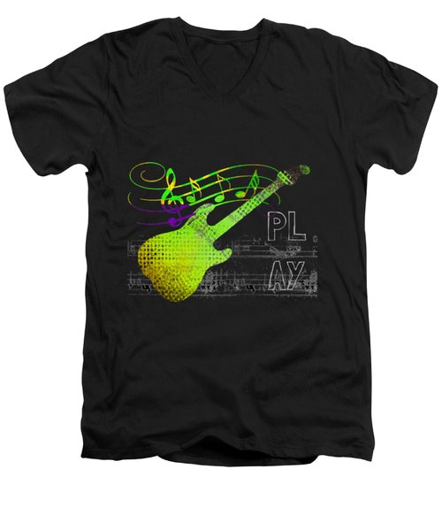 Men's V-Neck T-Shirt featuring the digital art Play 1 by Guitar Wacky