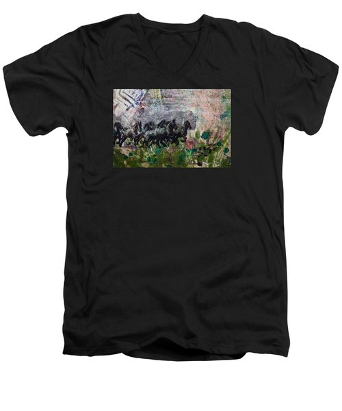 Ponies Men's V-Neck T-Shirt by Ron Richard Baviello