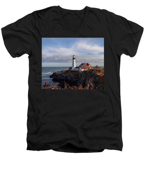 Portland Head Light Men's V-Neck T-Shirt by Trace Kittrell