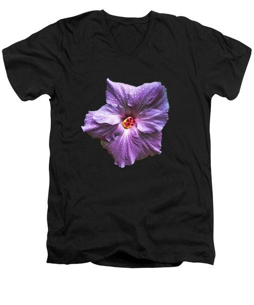 Purple Hibiscus Men's V-Neck T-Shirt by Pamela Walton
