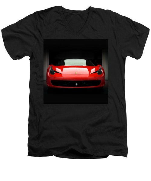 Red Ferrari 458 Men's V-Neck T-Shirt