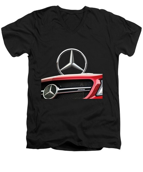 Red Mercedes - Front Grill Ornament And 3 D Badge On Black Men's V-Neck T-Shirt