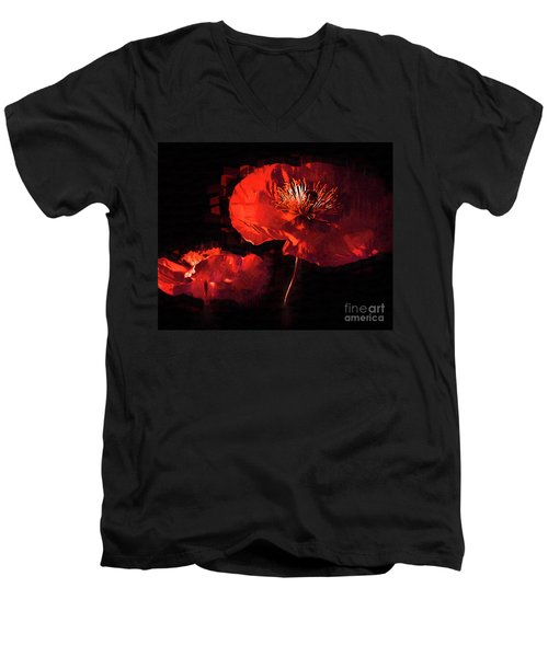 Two Red Poppies Men's V-Neck T-Shirt by Kirt Tisdale