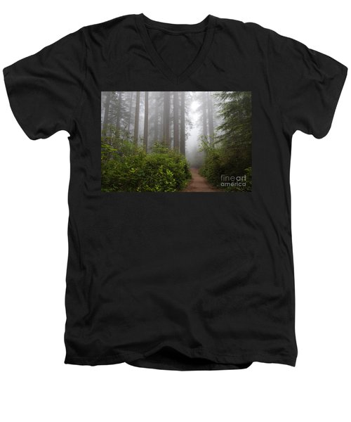 Men's V-Neck T-Shirt featuring the photograph Redwood Grove by Vincent Bonafede
