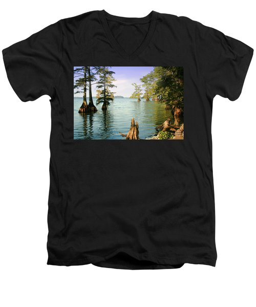 Men's V-Neck T-Shirt featuring the photograph Reelfoot Lake by Bonnie Willis