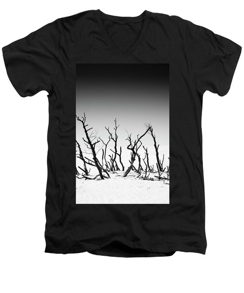 Men's V-Neck T-Shirt featuring the photograph Sand Dune With Dead Trees by Chevy Fleet